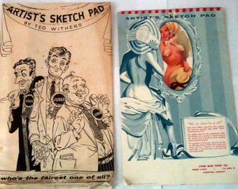 """Vintage 1957 Ted Withers """"Artists Sketch Pad"""" Pin-Up Calendar With Envelope"""