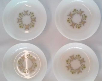Set of 4 Vintage Anchor Hocking Meadow Green White & Green Cereal /Soup Bowls