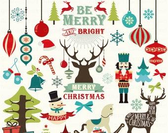 Clipart Christmas.Christmas Clip Art Deer Clip Art Ribbons Clipart Etsy