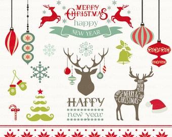Christmas Clipart Vector Frames Deer 16 Images 300 Dpi Eps Png Files Instant Download