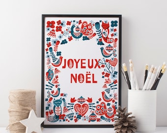 Scandinavian Christmas Printable. Joyeux Noël, Christmas printable art, Christmas poster, Wall art print. JPG files. Instant Download.