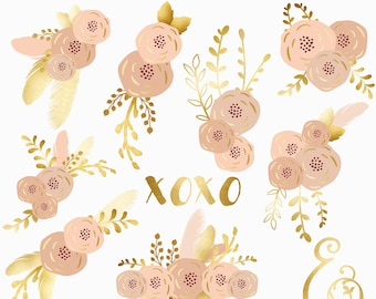 Blush And Gold Rustic Floral Bouquets Clipart Flowers Patterns 12 Images 300 Dpi Png JPG Files Instant Download