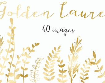 Golden laurels collection. Laurels, branches, wreaths, leaves. Wedding invitation. Christmas. 40 images 300 dpi. Png files. Instant Download