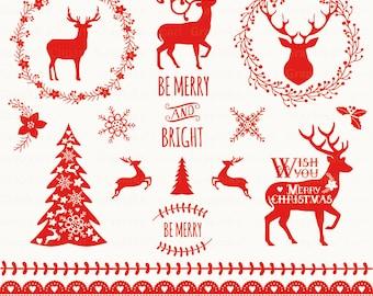 christmas clip art christmas clipart with vector etsy