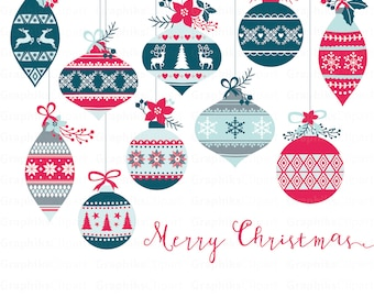 Rustic Christmas Ornaments Clipart RUSTIC CHRISTMAS Balls 12 Images 300 Dpi Eps Png Files Instant Download