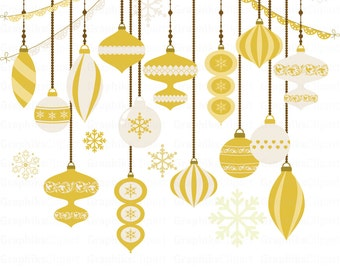 Gold Christmas Ornaments Clip Art Clipart 24 Images 300 Dpi Eps Png Files Instant Download