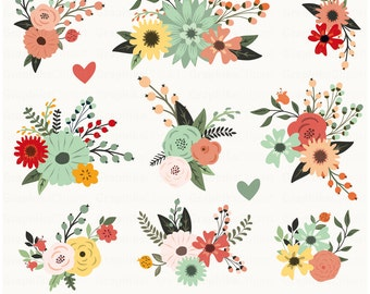 Spring Blossooms Clipart Flowers Floral Vector Art 11 Images 300 Dpi Eps Png Files Instant Download