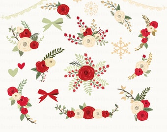 Christmas Rustic Flowers Clipart Floral Bouquet Clip Art 22 Images 300 Dpi Eps Png Files Instant Download