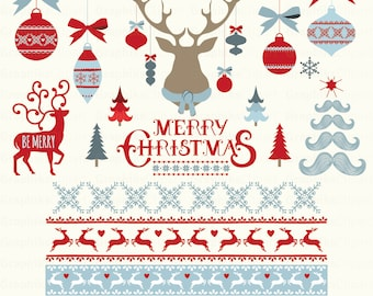 Merry Christmas Clipart CHRISTMAS CLIPART Frames Deer 16 Images 300 Dpi Eps Png Files Instant Download
