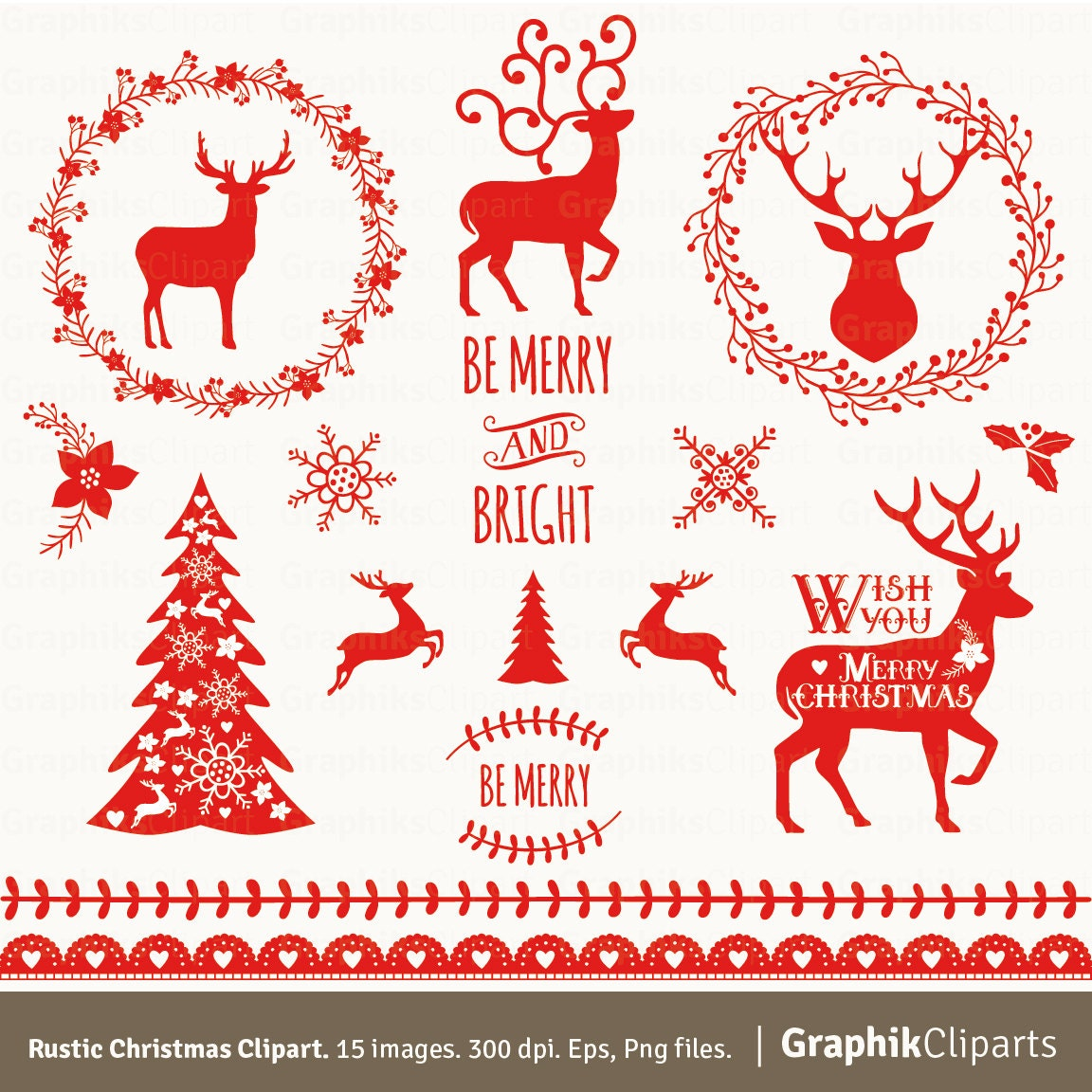Rustic Christmas Clipart Vector