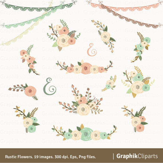 Rustic Flowers Clipart Quote Floral Bouquet Wedding Flower Vector 19 Images 300 Dpi Eps Png Instant Download From