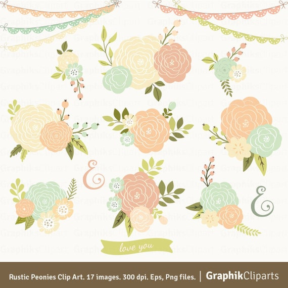 Rustic Peonies Spring Clip Art Vector Flowers Dahlia Clipart 17 Eps Png Files