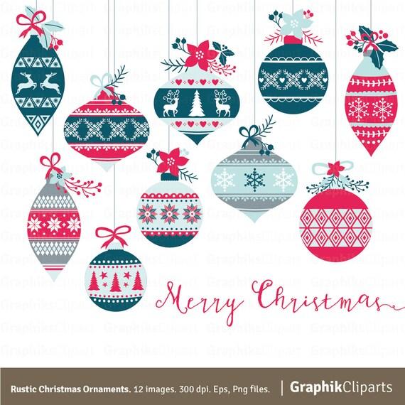 Rustic Christmas Ornaments Clipart RUSTIC