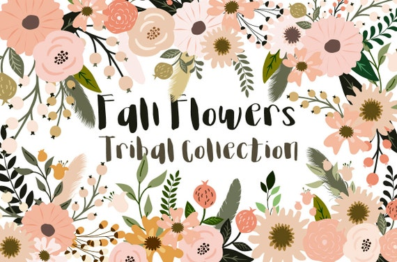 Fall Flowers Tribal Collection Vector Flowers Boho Chic Clipart Branches Clipart 42 Eps Png Jpg Files