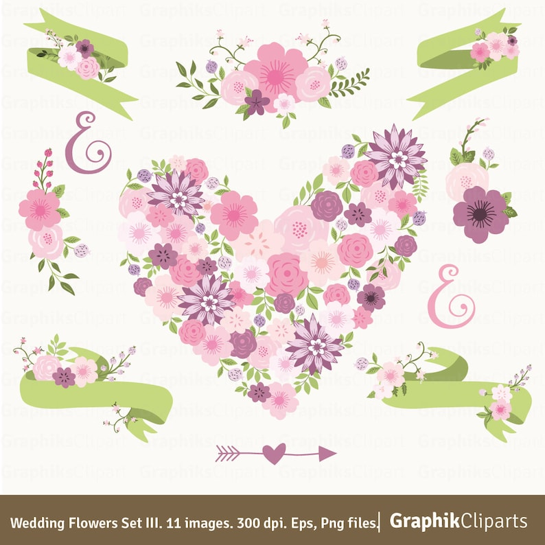 Wedding Flowers Set Free Bonus Spring Clip Art Vector Flowers Mothers Day Clipart 11 Eps Png Files