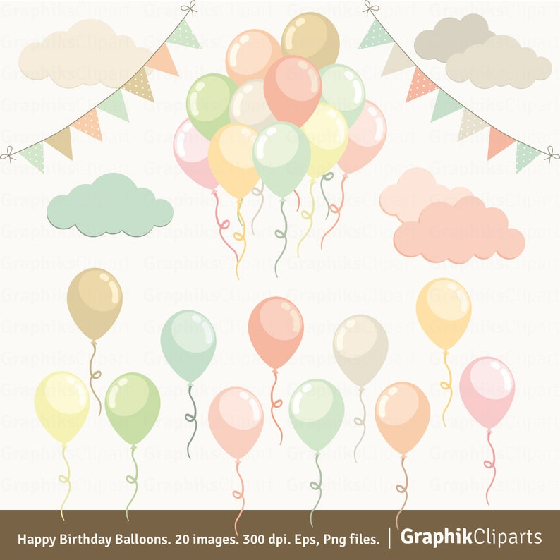 Happy Birthday Balloons Clipart Pastel