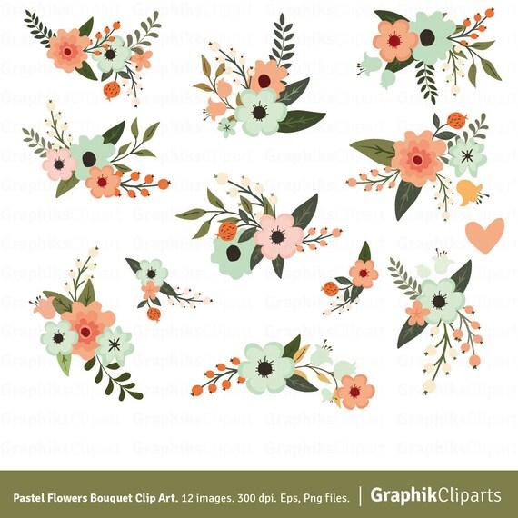 Pastel Flowers Bouquet Clipart. Flower Clipart. Floral | Etsy