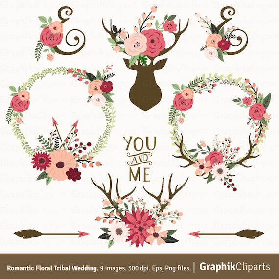 Romantic Floral Tribal Vector Flowers Vector Wreath Boho Flower Crown Branches Clipart 9 Eps Png Files