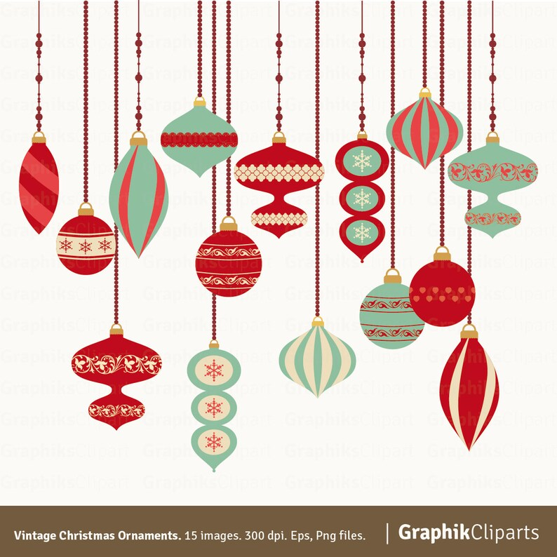 Vintage Christmas Ornaments Ornaments Clipart Christmas Vectors Retro Clip Art 15 Eps Png Files