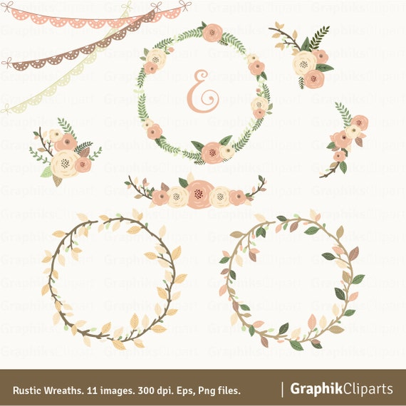 Rustic Wreaths Clipart Floral