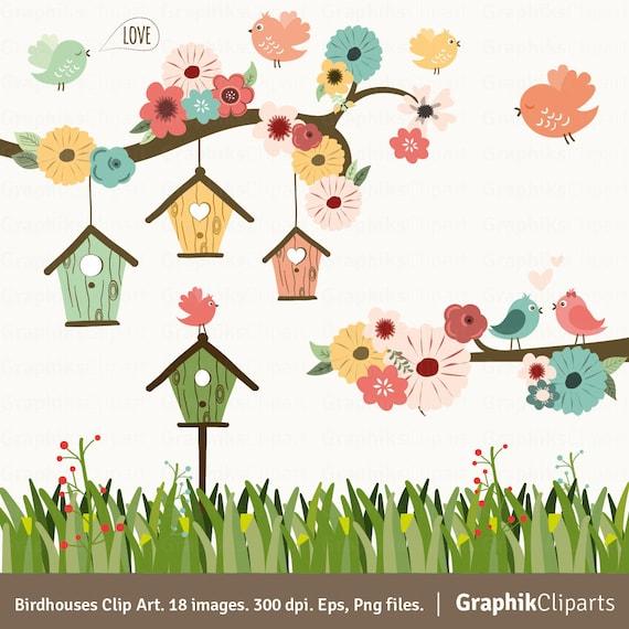 Birdhouses clipart birds clipart floral garden spring etsy image 0 mightylinksfo
