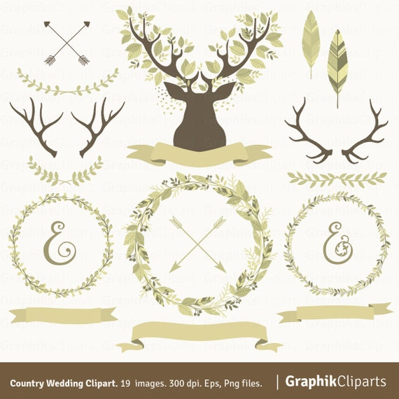 Country Wedding Clipart Laurel Wreaths Branches Antlers