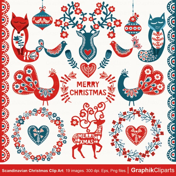 Scandinavian Christmas.Scandinavian Christmas Clipart Folk Art Clipart Vector Flowers Woodland Graphics 19 Images