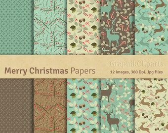 "Merry Christmas Digital Papers. ""MERRY CHRISTMAS"" Digital Papers. Christmas Papers Pack. 10 images, 300 Dpi. Jpg files. Instant Download."