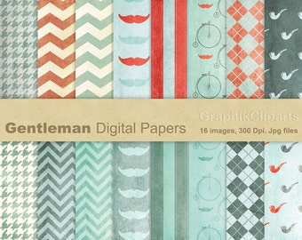 Gentleman Digital Papers. Fathers Day. Vintage Digital Papers. Scrapbooking images. 16 images, 300 Dpi. Jpg files. Instant Download.