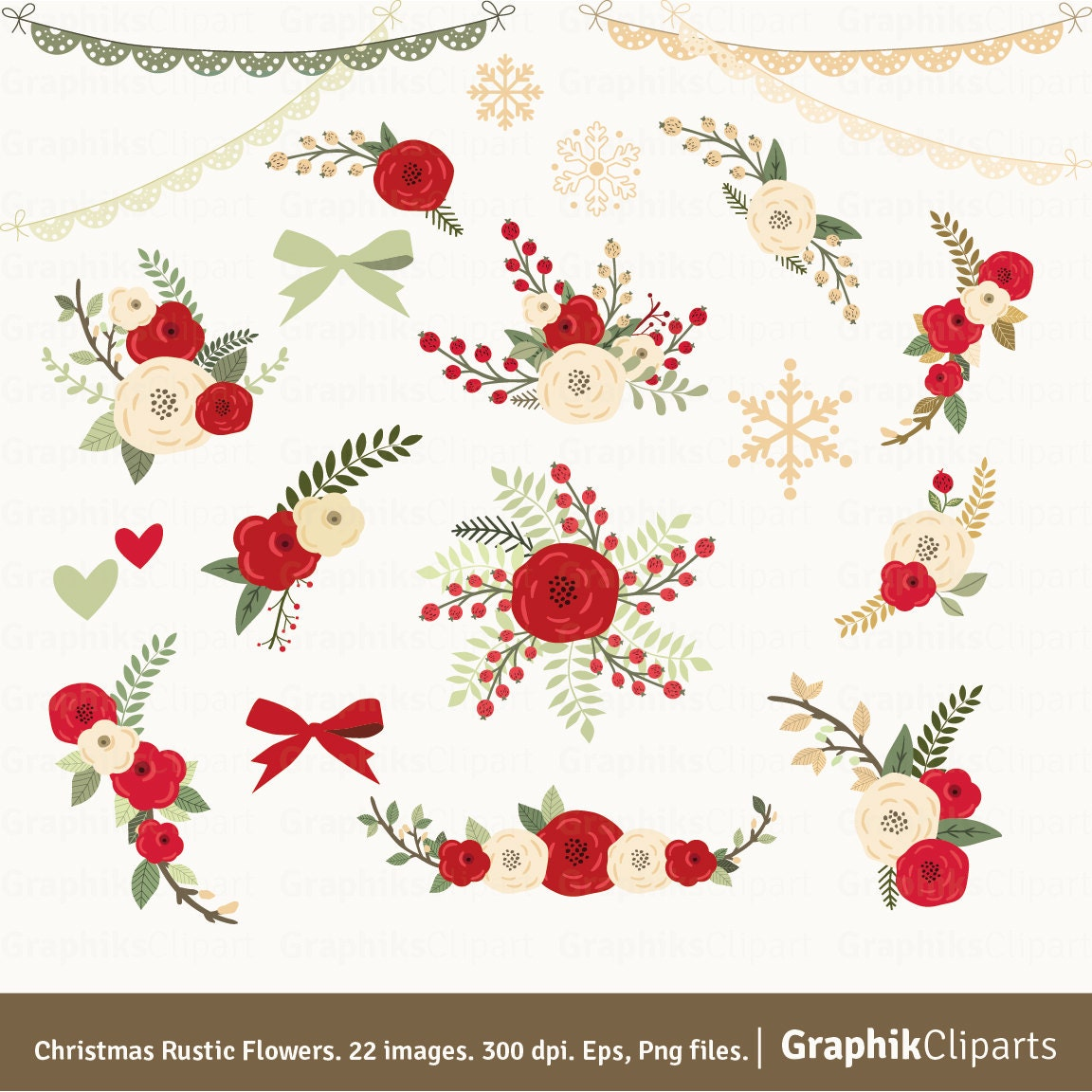 Christmas Rustic Flowers Clipart Floral Clipart Floral Etsy