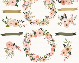 Fall Floral Wreaths Clipart. Floral Clipart. Fall Clipart. Floral Vectorart. Wedding. 12 images 300 dpi Eps, Png files. Instant Download