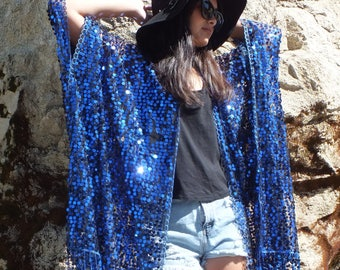 Festival Royal Blue Electric Blue Metallic Round Sequin Sheer Caftan Tassels Kimono Top Cardigan Duster Disco One size Fit SML Plus Size