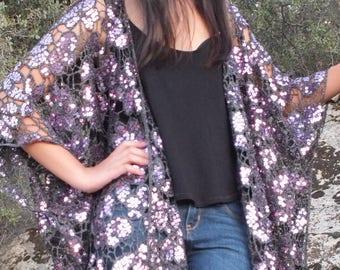 Festival Purple Lavender Metallic Heavy Sequin Floral Kimono Top Cardigan Sheer Duster Disco Party One size SML Plus Size