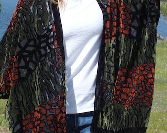 c79e6c4b6de14a Festival Green Red Burnout Velvet Animal Leopard Print Boho Cover Sheer  Duster Festival Fringe Caftan Kimono Cardigan Onesize Plus Size