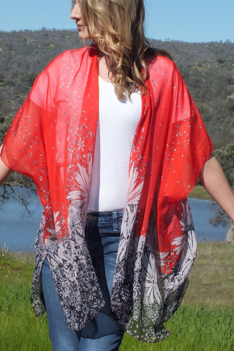 e68a3d11fef0d Red Floral Print Boho Tunic Swimsuit Cover Sheer Duster Fabric | Etsy