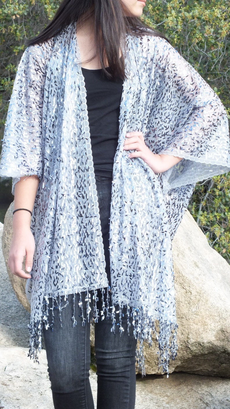 Festival Silver Gray Metallic Sequin Sheer Caftan Kimono Top Cardigan Duster Disco One size Fit Plus Size