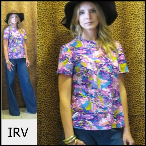 70's Vibrant Psychedelic Floral Print Graphic Prin