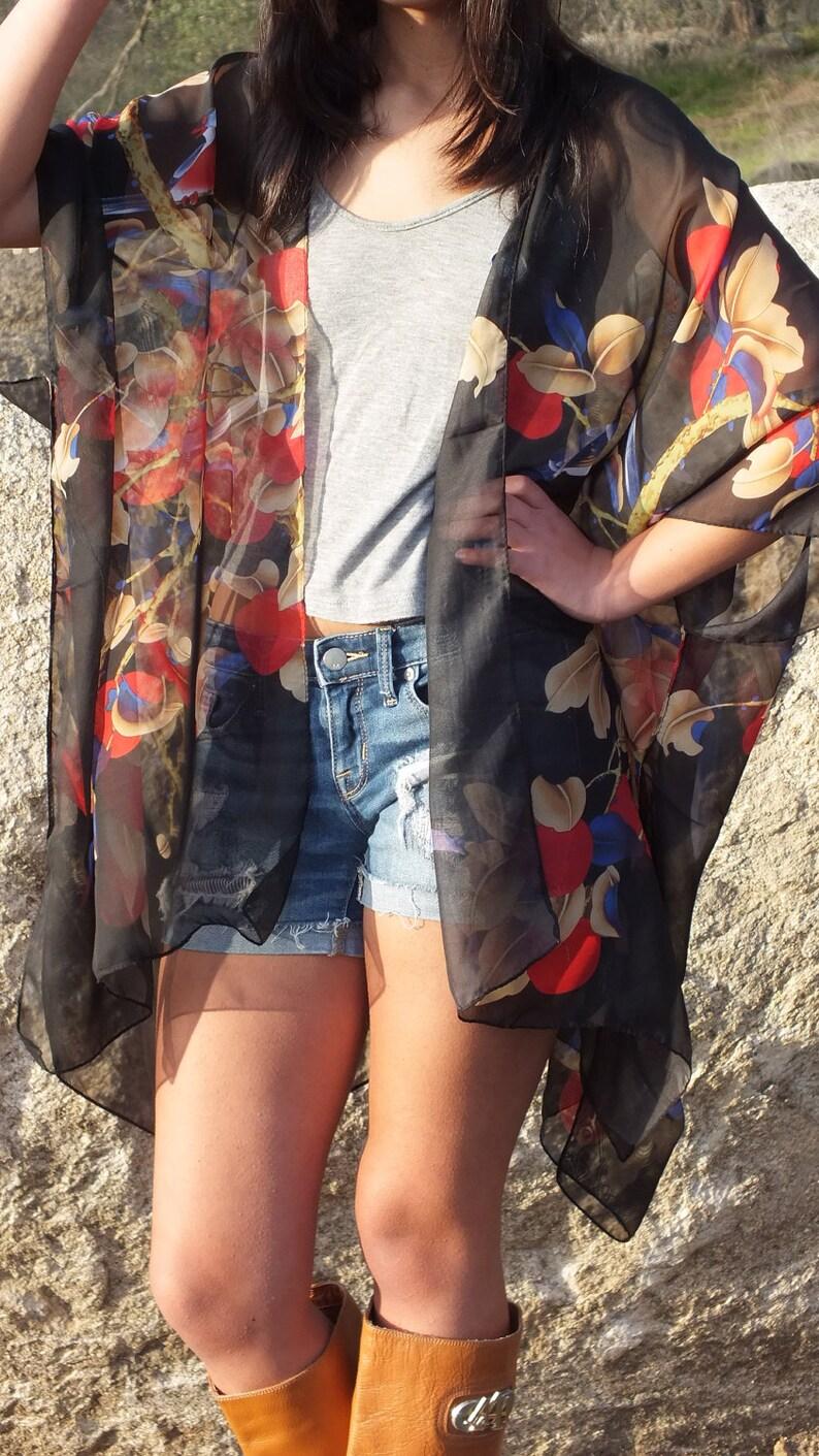 0ffee307ea Black Sheer Flower Bird Print Boho Tunic Swimsuit Cover Caftan | Etsy