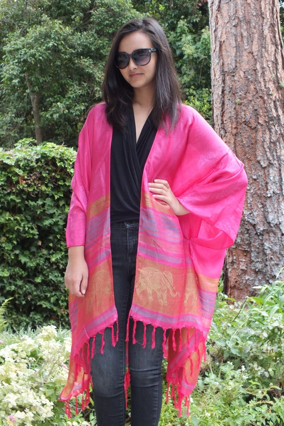 c35c89b31ebd5a Hot Pink Striped Festival Caftan Silk Kimono Elephant Print | Etsy