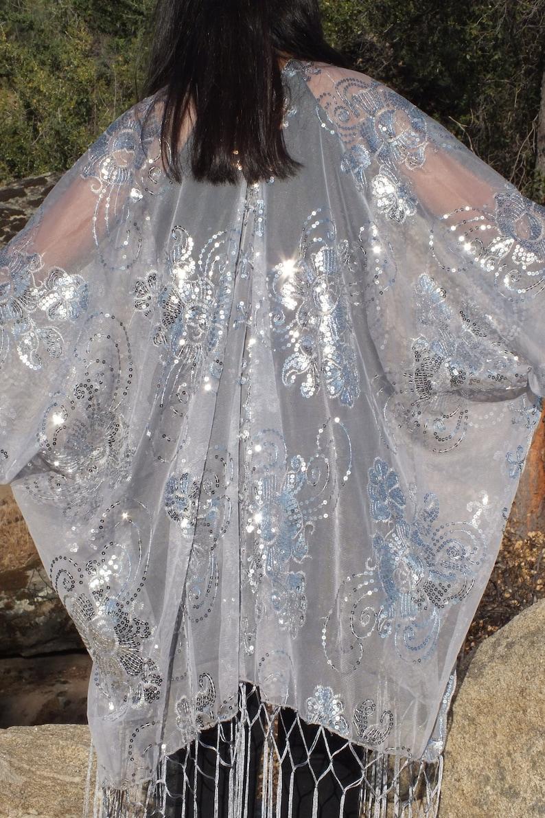 Festival Gray Silver Metallic Flower Sequin Sheer Caftan Grey Kimono Top Cardigan Duster Disco One Size SML Plus Size