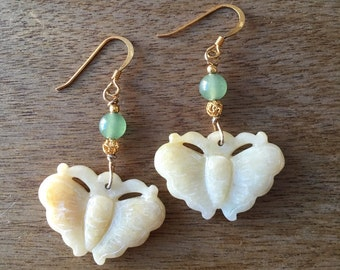 Jade Earrings, Jade Butterfly Earrings, Carved Jade Butterfly Earrings, Carved Jade Butterfly Gold-Plated Sterling Silver Earrings
