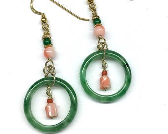 Jade Earrings, Genuine Coral Earrings, Green Jade Ring with Genuine Coral Bead and Green Agate Bead Gold-Plated Sterling Silver Earrings