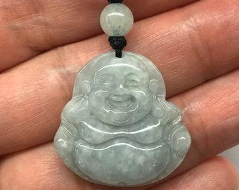 Carved Jade Smiling Buddha Jade Laughing Buddha Bracelet Jade Happy Buddha Jade Disc Adjustable Brown Cord Bracelet Jade Buddha Bracelet