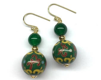 Chinese Cloisonne Earrings, Chinese Earrings, Chinese Jewellery, Vintage Chinese Cloisonné Bead from the 70's and Green Agate Bead Earrings