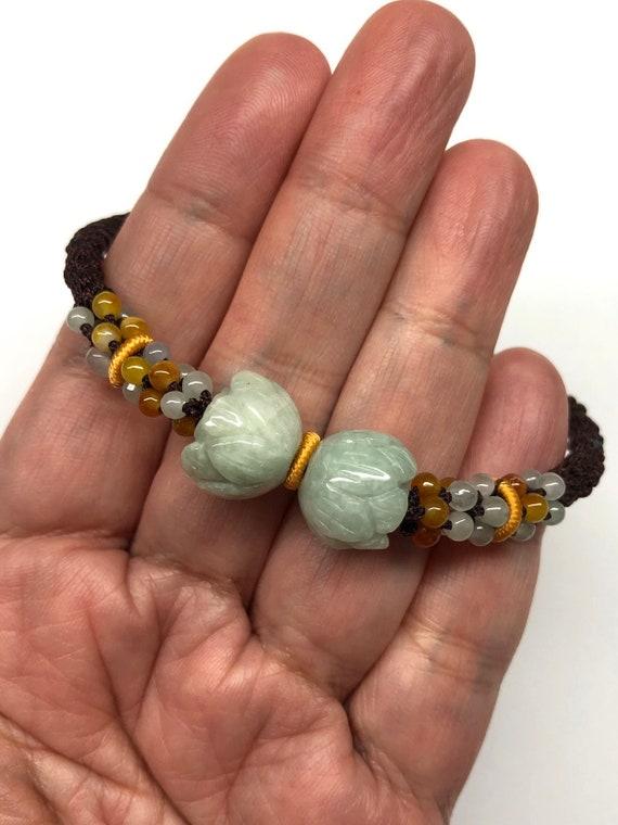 Bracelet En Jade Fleur De Jade Bracelet Bracelet Porte Etsy