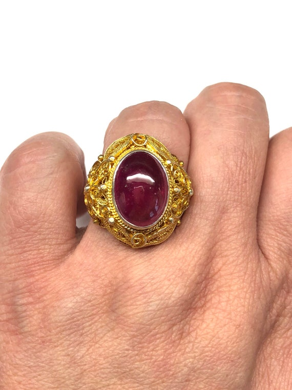 Ruby Ring, Vintage Oval Shaped Ruby Filigree Gold… - image 1