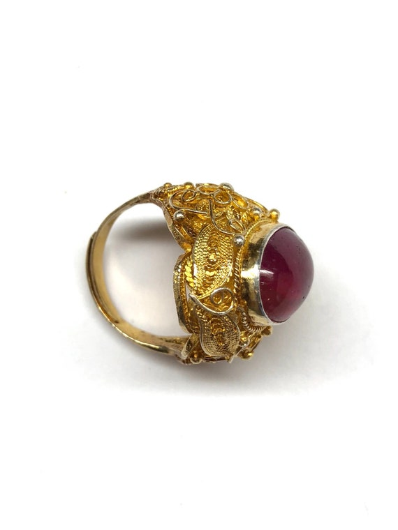 Ruby Ring, Vintage Oval Shaped Ruby Filigree Gold… - image 5