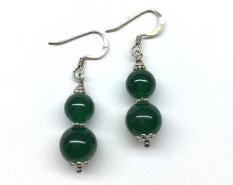 Green Agate Earrings, Green Earrings, Green Agate Jewellery, Green and Silver Earrings, Green Agate Bead 925 Sterling Silver Earrings