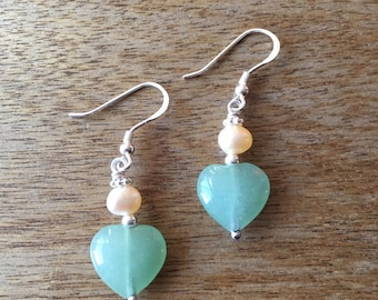 Pearl Earrings, Love Earrings, Aventurine Earrings, Heart Shaped Green Aventurine and Cultured Freshwater Pearl 925 Sterling Silver Earrings