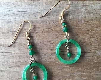 Jade Earrings, Green Jade Ring Earrings, Jade Loop Earrings, Jade Hoop Earrings, Jade Rings Gold-Plated Sterling Silver Earrings